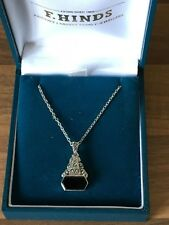"""Beautiful Vintage 17"""" Marked Sterling Silver Marcasite & Onyx Necklace 4.05gr"""