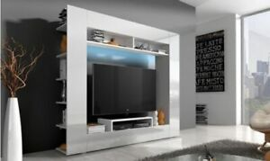 Wall Unit in white color high gloss - front panel