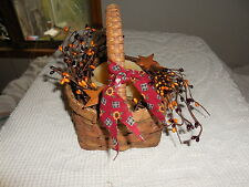 Country basket w/ pip berries & stars LED new flameless candle sunflowers bow