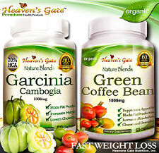 GARCINIA CAMBOGIA AND GREEN COFFEE BEAN COMBO FAST WEIGHT LOSS ORGANIC 100% PURE