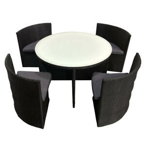 Rattan Dining Set Garden Patio Furniture 4 Seater Chairs & Round Table - 5 Piece