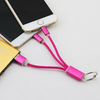 Multi Colors 3 in 1 USB Sync Data Charger Cable Cord Key Ring For iPhone Samsung