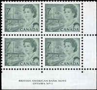 Canada Mint NH VF Scott #543 7c 1971 Block of 4 Centennial Definitive Stamps
