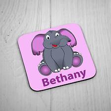Personalised Square Coaster - Cute Elephant Design