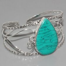 H18048 MASSIVE Turquoise & 925 Silver Overlay Bangle  Jewelry