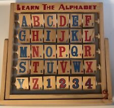 """Vintage """"Learn the Alphabet"""" Wooden Toy Folding Turning Block Educational 1990's"""