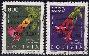 1966 Bolivia SC# C270-C271 - F - Flowers - Overprinted - Used
