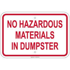Reflective Heavy Gauge No Hazardous Materials In Dumpster 12x18 Aluminum Sign