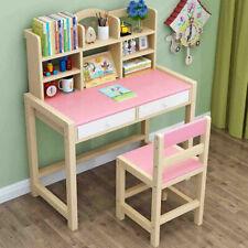 Kids Desk Chair Set Children's Study Table Workstation With Drawers Bookshelves