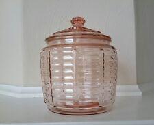 Vintage Pink Depression Glass Cookie /Biscuit Jar - Anchor Hocking - 1930's