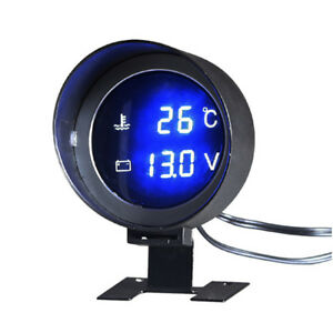 2in1 Car Water Temp Temperature Meter & Voltmeter Gauge Blue LED Digital Display