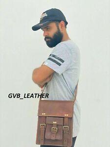 Vertical Long briefcase Vintage goat leather messenger Real satchel bag genuine