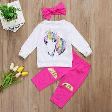 3 pzas Recién Nacido Bebé unicornio Suéter Camiseta + Pantalones largos
