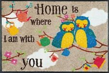 Fußmatte Eulen HOME is where I am with you - bunte Türmatte Wash+dry Fußabtreter
