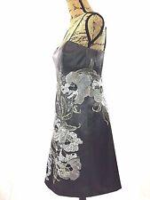 Karen Millen England Dress White Black Gray Metallic Embellish Feather Floral