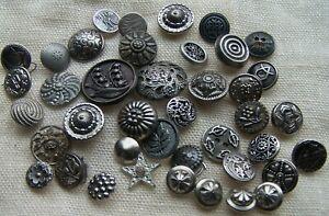 Antique 41 Silver Metal Picture Button Lot Cut Steel Flowers Hearts Star Etc.