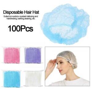 100pcs Disposable Hair Net Bouffant Cap Kitchen Food Medical Worker Non Woven US