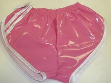 Retro PVC Sprinter Pantalones Cortos CH hasta 4XL, Rosa Fucsia - Blanco