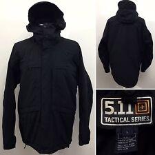 5.11 TACTICAL SERIES Size Large Men's Black Hooded Waterproof Combat Jacket Coat