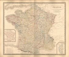 1844 large antique map-Johnston-France avec cercles militaires, Encart Corse