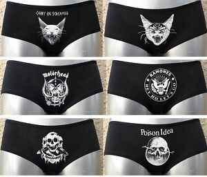 KNICKERS PUNK ROCK SHORTS low rise underwear UK 8-18 / EU 36-46 panties cat