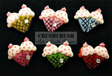 15pcs Couple Twin ice Cream CUPCAKE with Cheery Cabochon Flat back WipCream F887