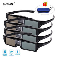 4pcs BOBLOV DLP 3D Active Shutter Glasses 96-144Hz USB for Acer Optoma Projector