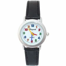 CHILD'S HIGH QUALITY QUARTZ WATCH BLACK LEATHER WITH COLOURED NUMERALS