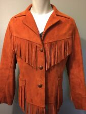 Vtg 50s 60s Leather Suede Fringe Jacket Womens L-Xl Rockabilly Vlv Western Hippy