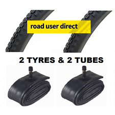 2 x 26x1 3/8 Black Tyres & 2 x Inner Tubes - Schrader - Free Delivery