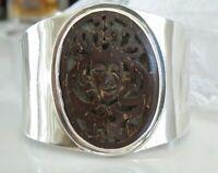 Vintage Sterling Silver 925 Organic Goddess Carved Wood Cuff Statement Bracelet