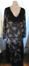 Edwardian / 20s Vintage Black & Beige Chiffon & Lace Dress