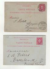 Belgique 2 entiers postaux sur 2 cartes postales tampon à date 1880 /TSL40