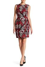 4044f1b472c15 Oscar De La Renta Lilly Jacquard Sheath Dress Black Red Size 4 Italy