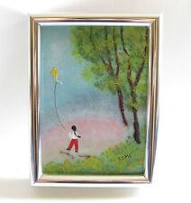Enamel on Copper Framed Painting~Child Flying Kite~Trees~Silver Frame~REMS