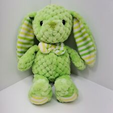 "KELLYTOY Green Textured Bunny Rabbit Plush 10"" Toy Soft Yellow Bow Tie Stripes"