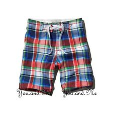 NEW ABERCROMBIE & FITCH KIDS A&F Boys Classic Swim Board Shorts Red/Blue Plaid L