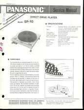 Rare Factory Technics/Panasonic SP-10 Turntable Service Manual with Supplement