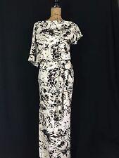 NEW Fluxus maxi dress size Small white black ivory splatter drape asymmetrical