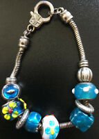 Charm Bracelet Beaded Blues & Silver Tone