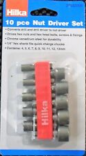Hilka 10 Piece Nut Driver Socket Set Metric 4 - 13mm Chrome Vanadium New