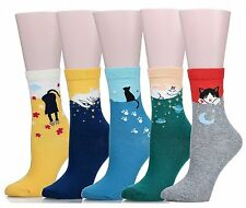 Mraw Cute Cat Design Womens Casual Comfortable Cotton Crew Socks - 5 Pack ...
