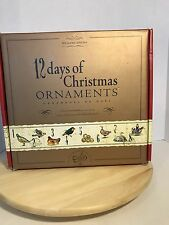 WILLIAMS-SONOMA 12 DAYS OF CHRISTMAS HAND PAINTED GLASS ORNAMENTS 2008