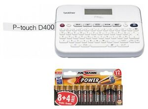 BROTHER P-touch D400 Beschriftungsgerät Schriftband TZe 3.5-18 + 18x AA Batterie