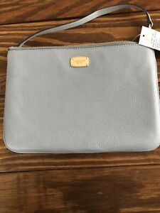 MICHAEL KORS Women' XL Zip Pouch Clutch Wristlet Pale Blue Leather NWT MSRP $128