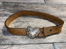Justin Belt Western Girls Sz 24 Cowhide Heart Buckle With Rhinestones Brown