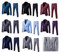 Men's Smart Fit 3 Pcs Suits Blazer Jacket Tux Vest Waistcoat Trousers Wedding UK