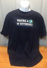 """BRAND NEW  """"Making A World Of Difference"""" T-Shirt Navy Blue Mens XL 100% Cotton"""