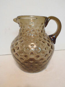 Fenton Dot Optic Smoked Glass Water Pitcher