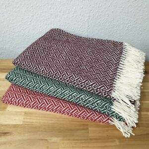 Luxury Lambswool Throw Parquet Geometric Design Various Rich Colours Ideal Gift